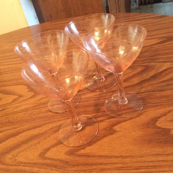 Vintage Other - Vintage set of 4 pink depression cocktail glasses+